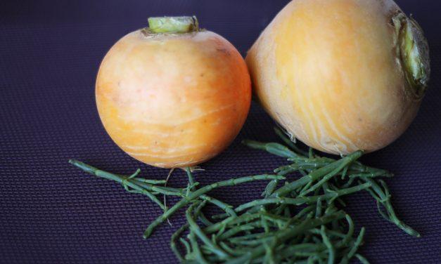 Aus dem Meer und aus der Erde – Salat von Teltower Rübchen mit Algen und Limetten-Honig Dressing