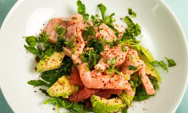 Sprachübungen für Genießer – Lachs-Ceviche mit Avocado und rosa Grapefruit
