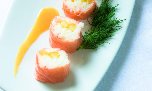 La vie en rose – rosa Sushi mit mariniertem Spargel