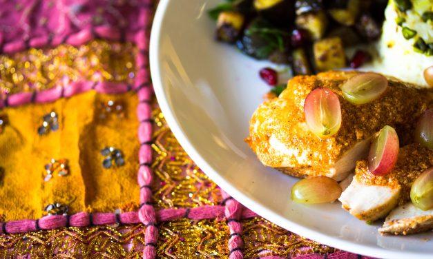 Pretasting India  –  Kardamom-Hühnchen mit Trauben, Gewürzauberginen und Pistazien-Kurkuma-Reis