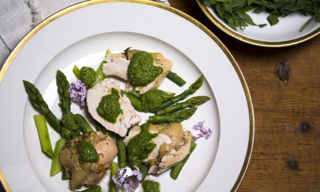 Das Huhn, der Flieder, die Estragon Salsa und die Inspiration von Parfum…