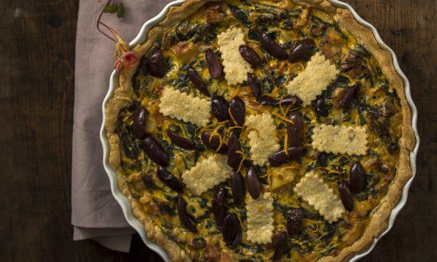 Spätsommer oder schon so richtig Herbst? Kartoffel-Mangold-Ricotta Tarte mit Orangen und Oliven
