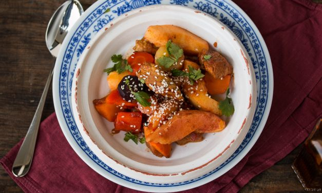 Orientalisch geschmortes Kalbfleisch mit Honig-Möhren und Quitten