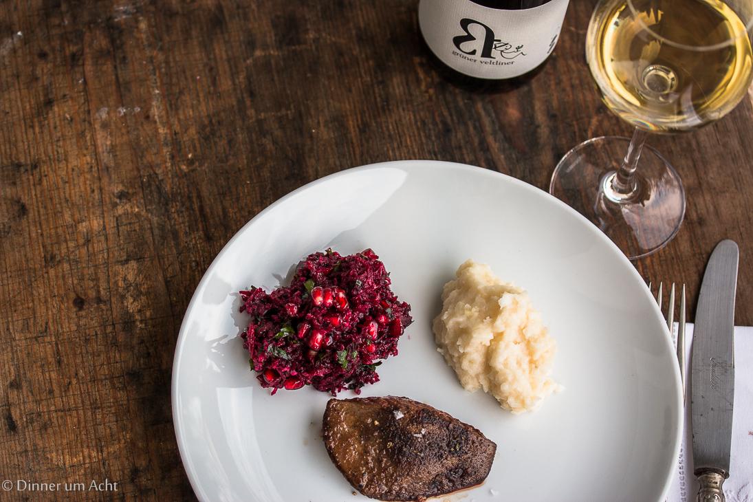 rotkohl rote bete apfel salat mit rehleber und schwarzwurzel p ree dinner um acht. Black Bedroom Furniture Sets. Home Design Ideas