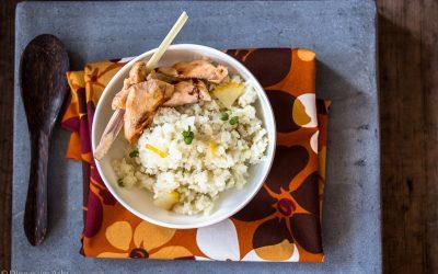 """Blumenkohl-Kokos """"Couscous"""" mit kandierter Zitrone und Zitronengras-Hühnchen"""