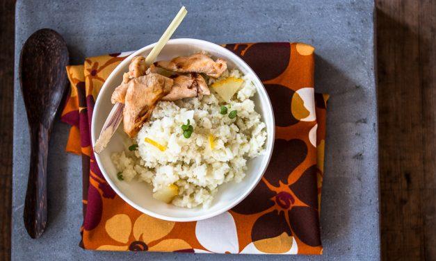 """Blumenkohl-Kokos """"Couscous"""" mit kandierter Zitrone und <br/>Zitronengras-Hühnchen"""