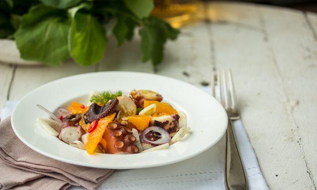 Allerliebster Pulpo Salat mit Fenchel, Orangen, Ingwer und Kreuzkümmel