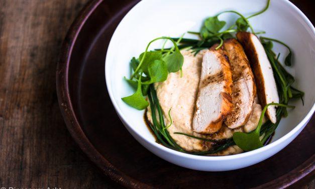 Gebackener Sellerie und ein Huhn mit einem japanischen Geheimnis