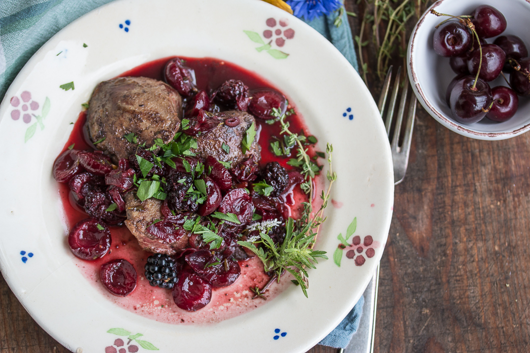 turkey liver with cherries and boysenberries-1-2