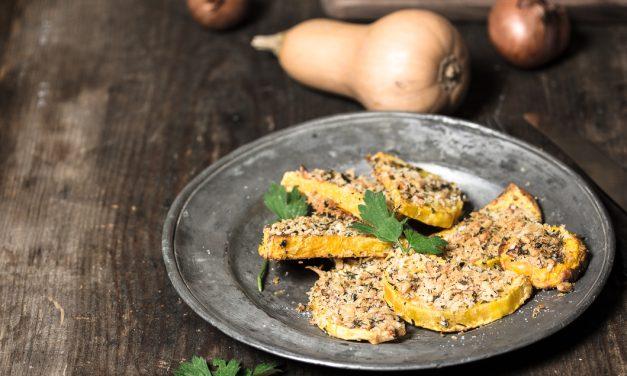 Butternut Kürbis mit Parmesan-Salbei Kruste aus dem Ofen