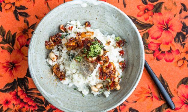 Schrei nach Skrei! Mit Blumenkohl-Kokos Couscous und Kumquat-Erdnuss Sambal