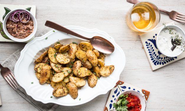 Sommernachtsfood ganz easy – kleine Ofenkartoffeln mit dreierlei Dips