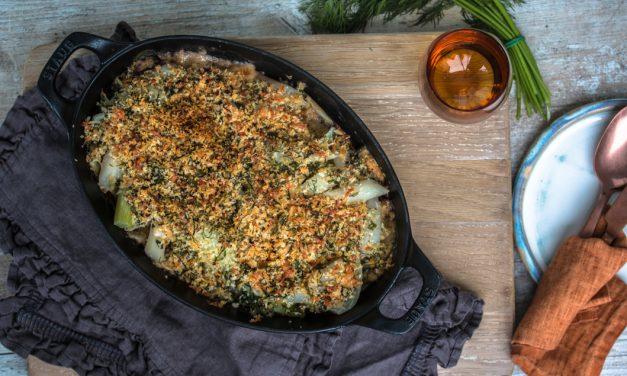Knuspriges Schwarzwurzel Gratin mit Fenchel, Parmesan und Meyer Zitrone