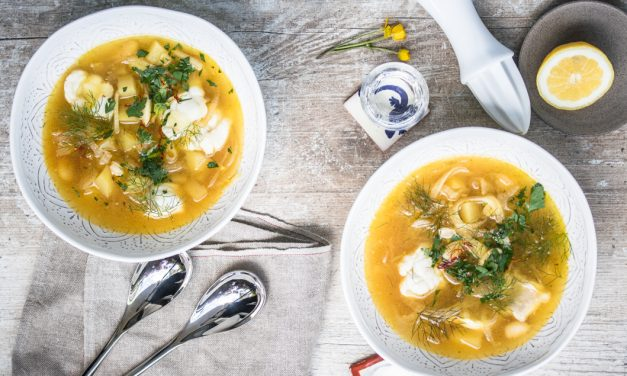 Fischsuppe vom Seeteufel mit Safran, Fenchel und Ouzo