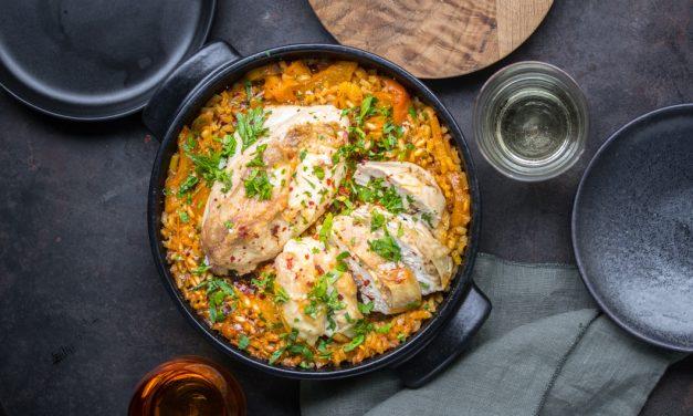 Huhn mit Orange, Kreuzkümmel, Reis und zweierlei Aprikosen